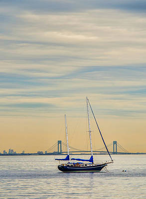 Photograph - Sailboat In Pastel Harbor Sunset by Gary Slawsky