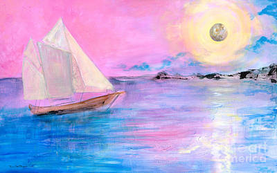 Sailboat In Pink Moonlight  Art Print by Robin Maria Pedrero