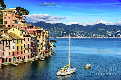 Sailboat In Portofino, Italy Art Print by Global Light Photography - Nicole Leffer