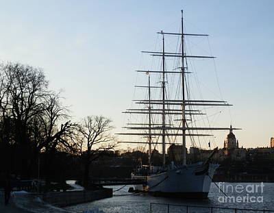 Winter Drawing - Tall Ship In Stockholm by Margaret Brooks