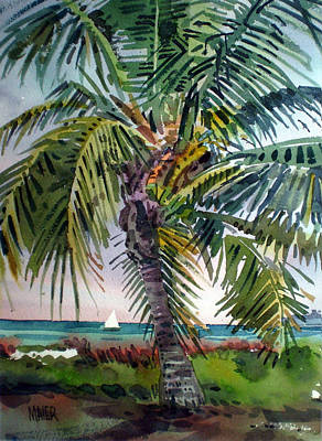 Palm Trees Painting - Sailboat In The Keys by Donald Maier