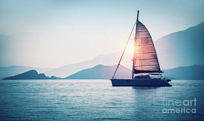 Photograph - Sailboat In The Sea by Anna Om