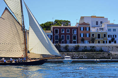 Photograph - Sailboat In Town - Es Castell In Menorca And The Mediterranean At Bottom by Pedro Cardona