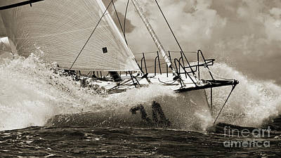 Sepia Photograph - Sailboat Le Pingouin Open 60 Sepia by Dustin K Ryan