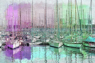 Painting - Sailboat Lineup - Watercolor by Ericamaxine Price