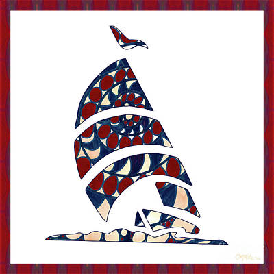 Digital Art - Sailboat Nautical Nursery Art By Omashte by Omaste Witkowski