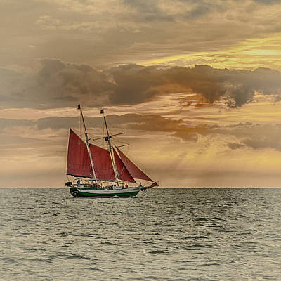 Photograph - Sailboat Off Of Key West Red Sails_dsc01355_16 by Greg Kluempers