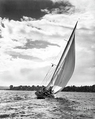 Sailboat Photograph - Sailboat Off Shore by Ewing Galloway