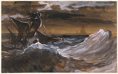 Raging Painting - Sailboat On A Raging Sea by Theodore Gericault