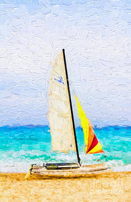 Photograph - Sailboat On Beach - Painterly V3 by Les Palenik