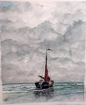 Painting - Sailboat On Beach by Richard Benson