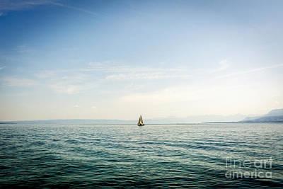 Horizon Over Sea Photograph - Sailboat On Lake Geneva. Switzerland. by Bernard Jaubert