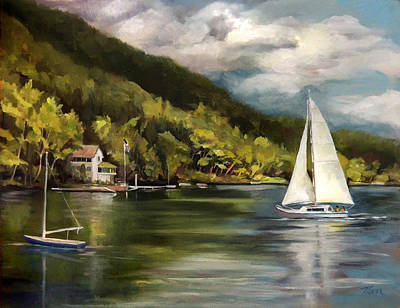 Painting - Sailboat On Lake Morey by Nancy Griswold