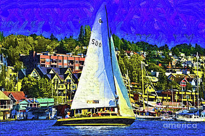 Digital Art - Sailboat On Lake Union by Kirt Tisdale