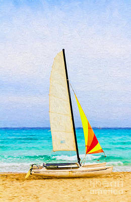 Photograph - Sailboat - Painterly V2 by Les Palenik
