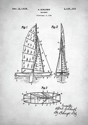 Digital Art - Sailboat Patent by Taylan Apukovska