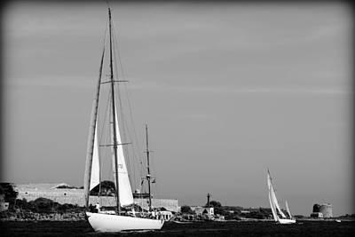 Photograph - sailboat race in Port Mahon - Mediterranean Sea by Pedro Cardona