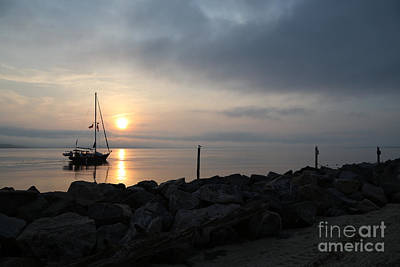 Photograph - Sailboat River Sunrise by Lara Morrison