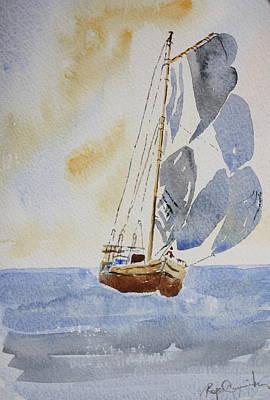 Sailboat Art Print by Roger Cummiskey