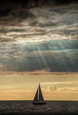Photograph - Sailboat Sailing In Lake Michigan by Randall Nyhof