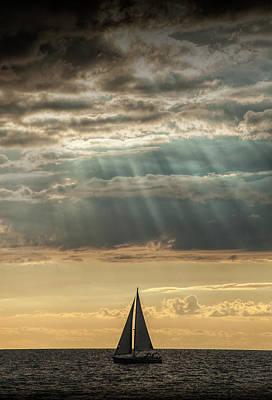 Photograph - Sailboat Sailing In Lake Michigan by Randall Nyhof