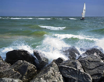 Sailboat Sailing Off The Shore At Ottawa Beach State Park Art Print