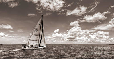 Harbor Photograph - Sailboat Sailing On The Charleston Harbor Sepia Beneteau 40.7 by Dustin K Ryan