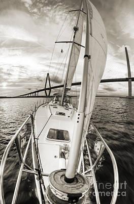 Black And White Photograph - Sailboat Sailing Past Arthur Ravenel Jr Bridge Charleston Sc by Dustin K Ryan