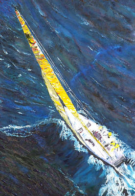 Sail Boat Painting - Sailboat Sailing by Impressionism Modern and Contemporary Art  By Gregory A Page