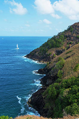 Photograph - Sailboat Sailng Around Pigeon Island Saint Lucia Caribbean by Toby McGuire