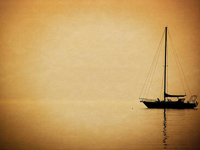 Reflecting Water Mixed Media - Sailboat Silhouette by Maria Dryfhout