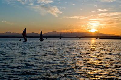 Sailboat Sillohette Sunset Art Print by Tom Dowd