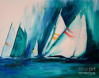 Raining Painting - Sailboat Studies by Julie Lueders