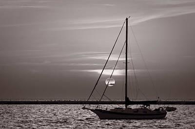 Sailboat Sunrise In B And W Art Print by Steve Gadomski