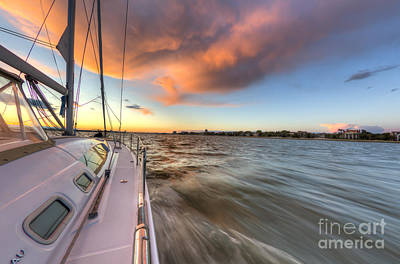 Charter Photograph - Sailboat Sunset Charleston Battery by Dustin K Ryan