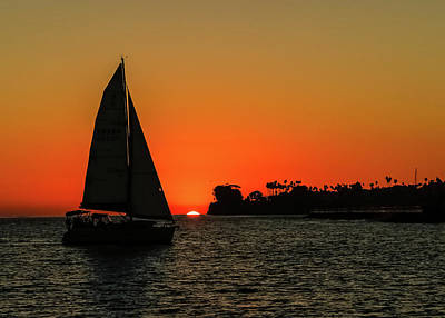 Photograph - Sailboat Sunset by Kathleen McGinley