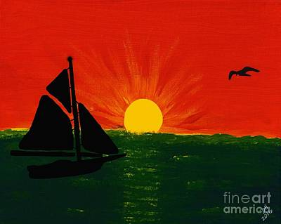 Painting - Sailboat Sunset Painting by D Hackett