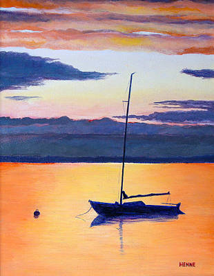 Painting - Sailboat Sunset by Robert Henne