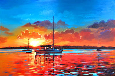 Mixed Media - Sailboat Sunset by Robert Korhonen