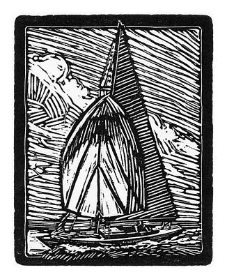 Lino Mixed Media - Sailing by Tom Taneyhill