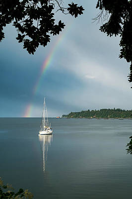 Penn Cove Photograph - Sailboat Under The Rainbow by Mary Lee Dereske