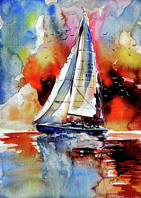 Painting - Sailboat With Birds by Kovacs Anna Brigitta