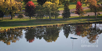 Photograph - Sailboat With Fall Color Reflections Winona Minnesota by Kari Yearous