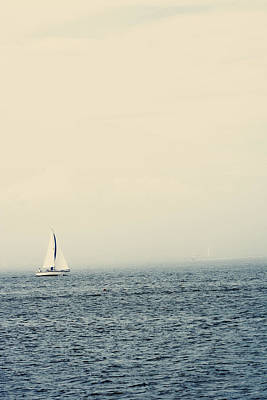 Sailboat With Fog On Water Art Print