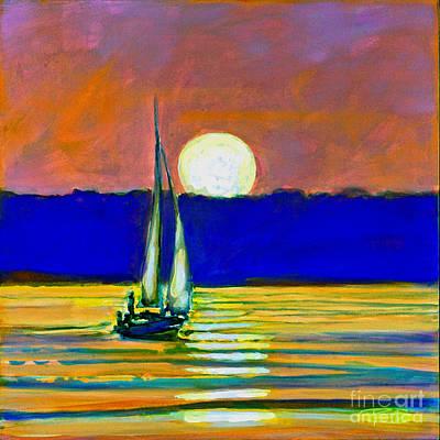 Sailboat With Moonlight Art Print by Kip Decker