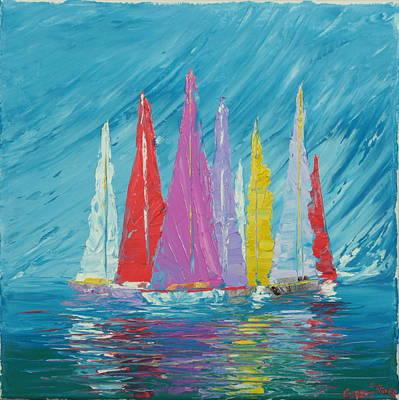 Sailboats 5 Original by Garett Fraser
