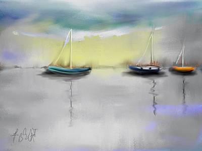 Sailboats Abstract Original