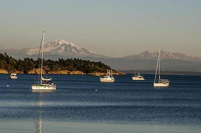 Photograph - Sailboats And Komo Kulshan Mount Baker Sucia Island by NaturesPix