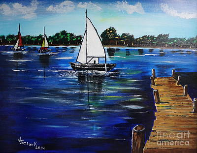 Painting - Sailboats And Pier by Jimmy Clark