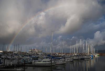Photograph - Sailboats And Rainbow by Robert Potts